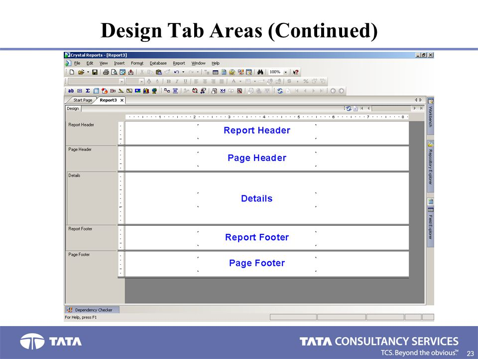 Design Tab Areas (Continued)