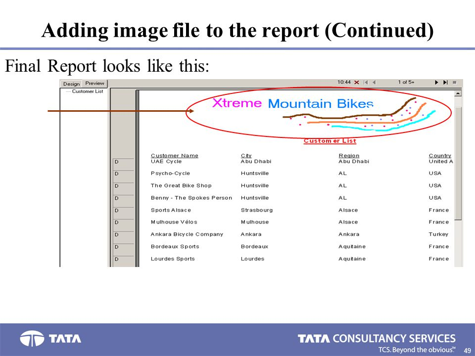 Adding image file to the report (Continued)