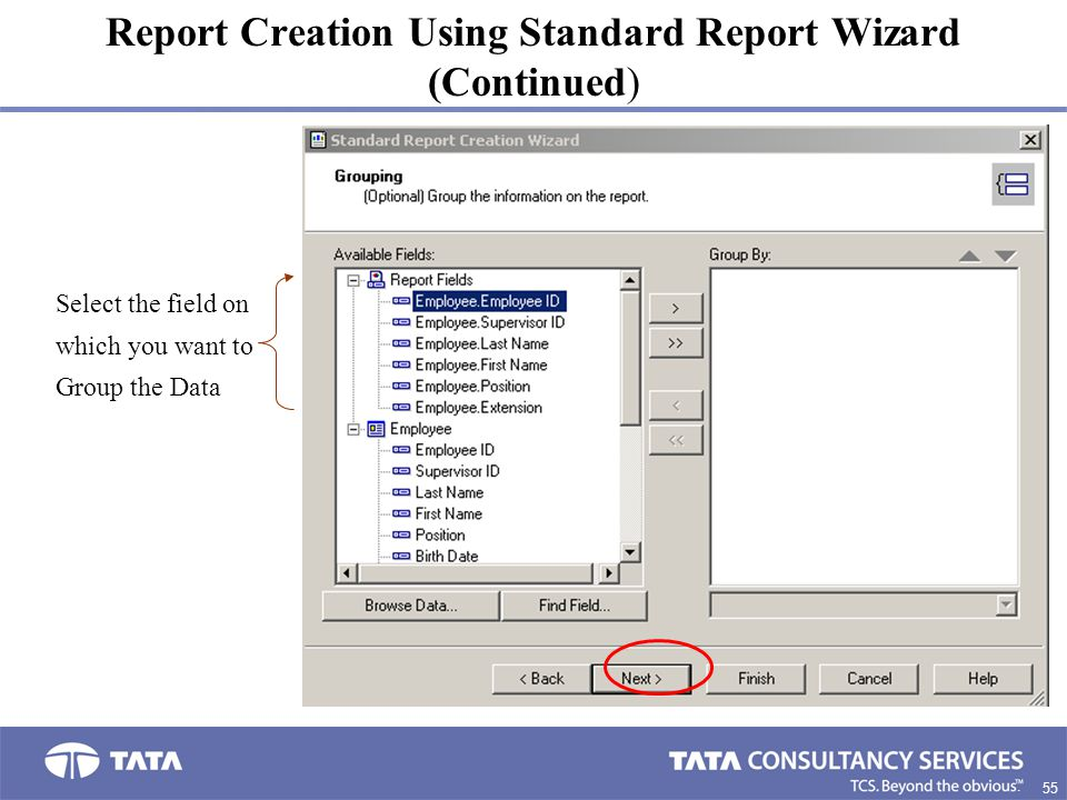 Report Creation Using Standard Report Wizard (Continued)