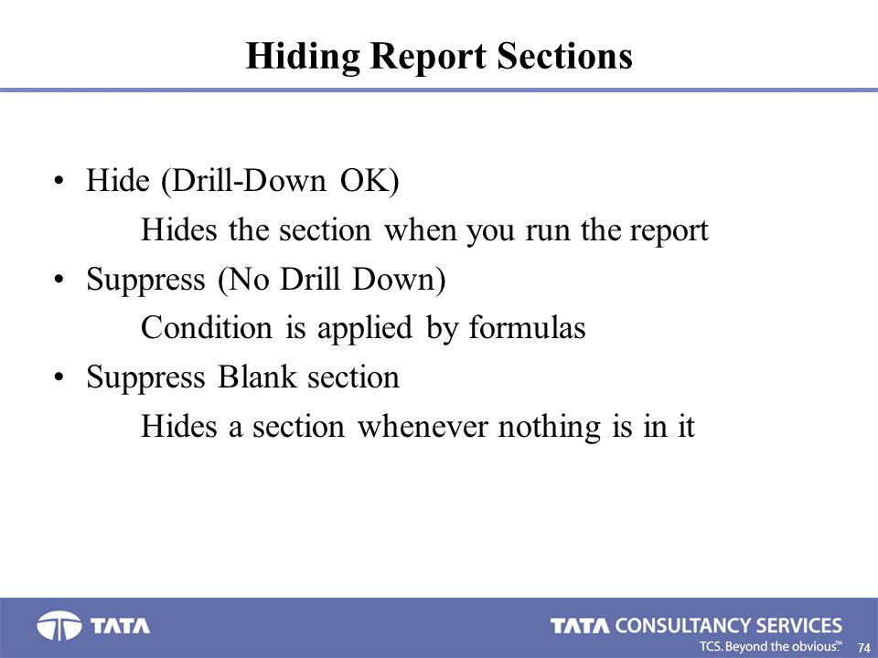 Hiding Report Sections