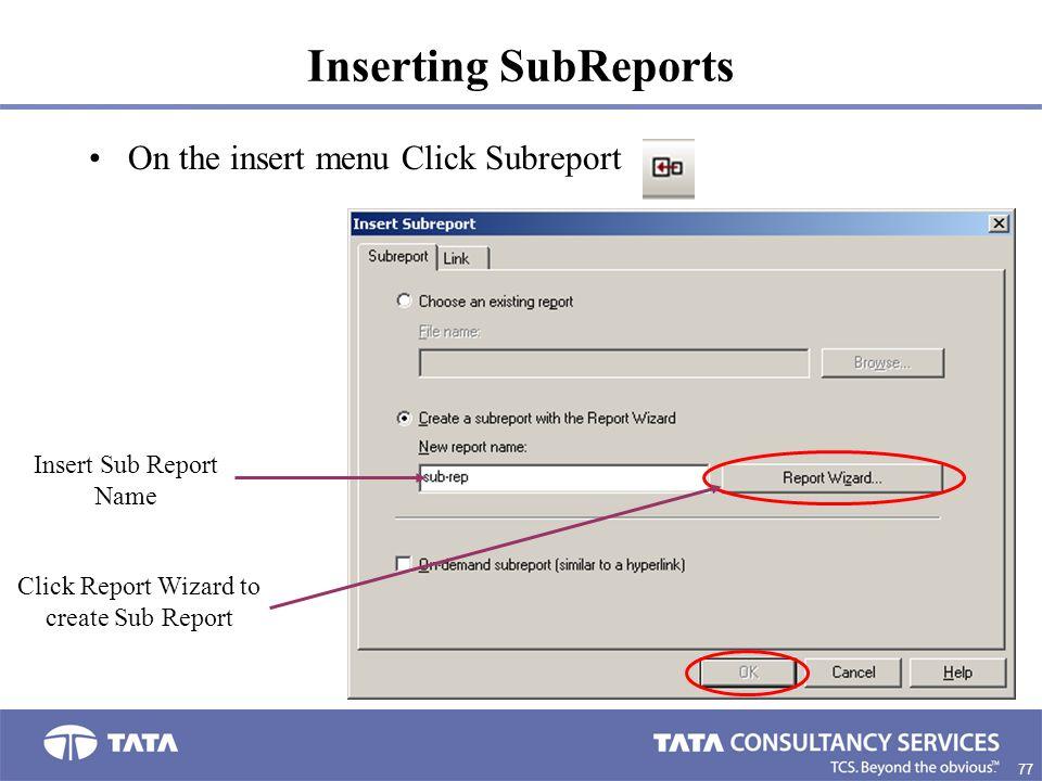 Click Report Wizard to create Sub Report