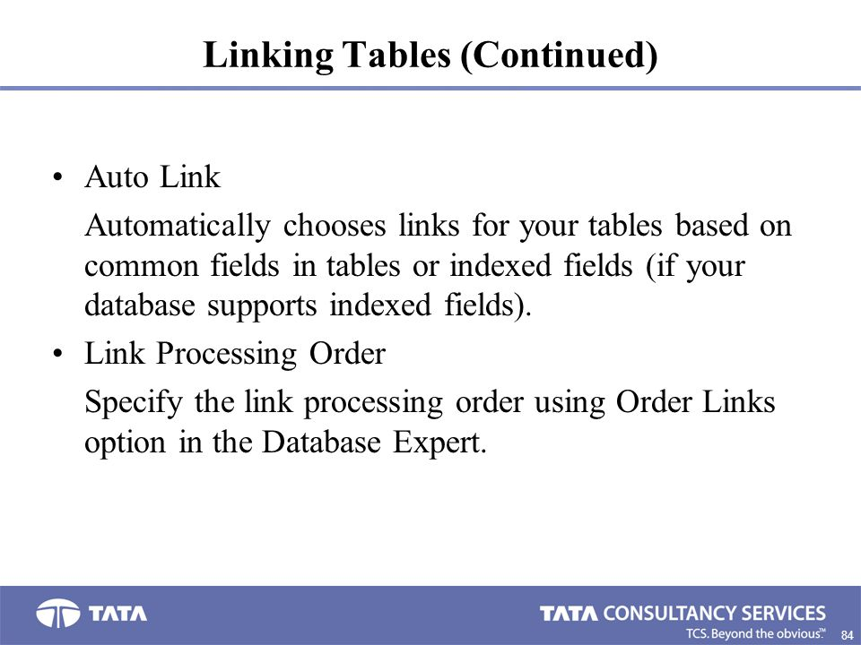 Linking Tables (Continued)