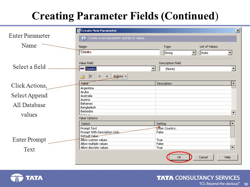 Creating Parameter Fields (Continued)