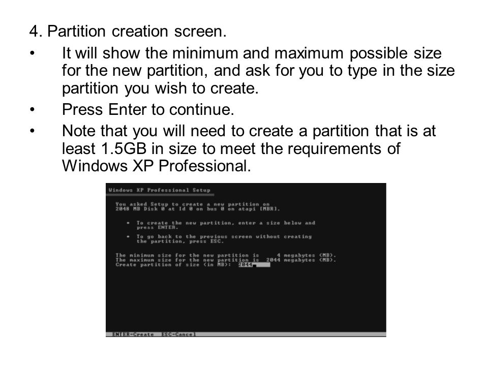 4. Partition creation screen.