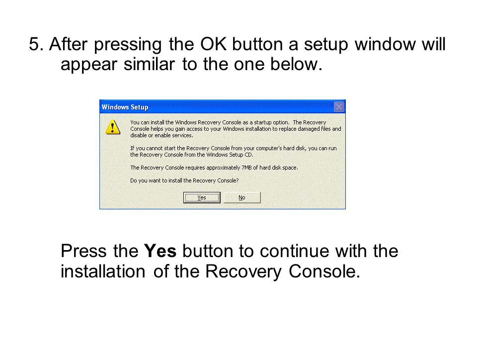 5. After pressing the OK button a setup window will appear similar to the one below.