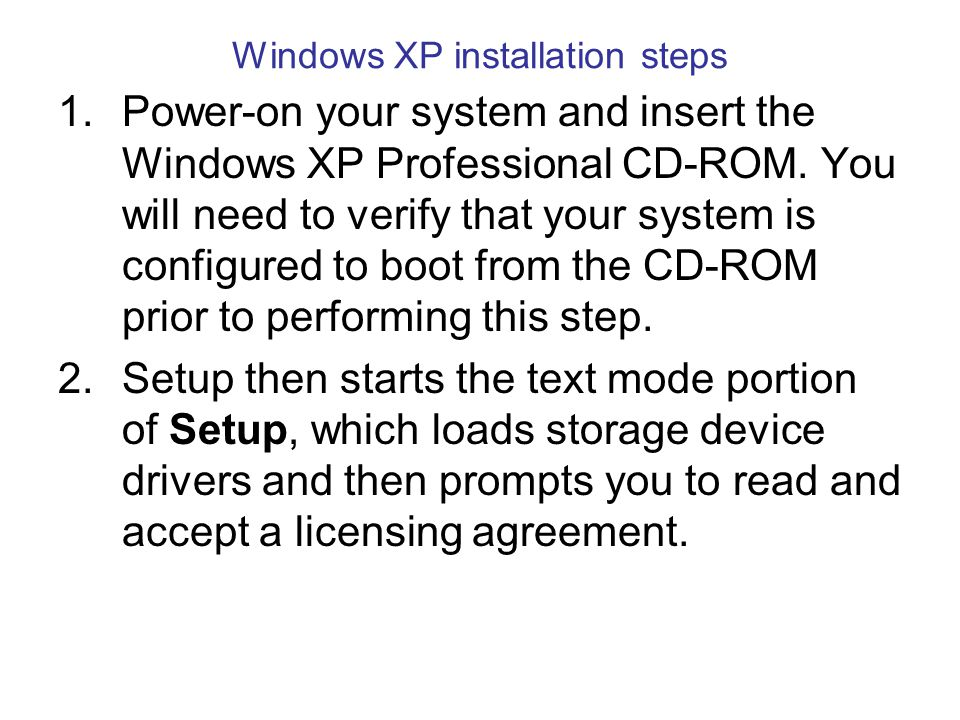 Windows XP installation steps