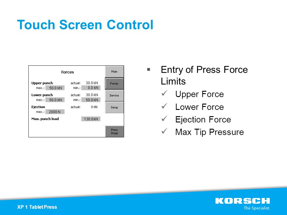 Touch Screen Control Entry of Press Force Limits Upper Force