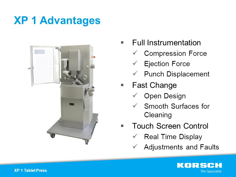 XP 1 Advantages Full Instrumentation Fast Change Touch Screen Control