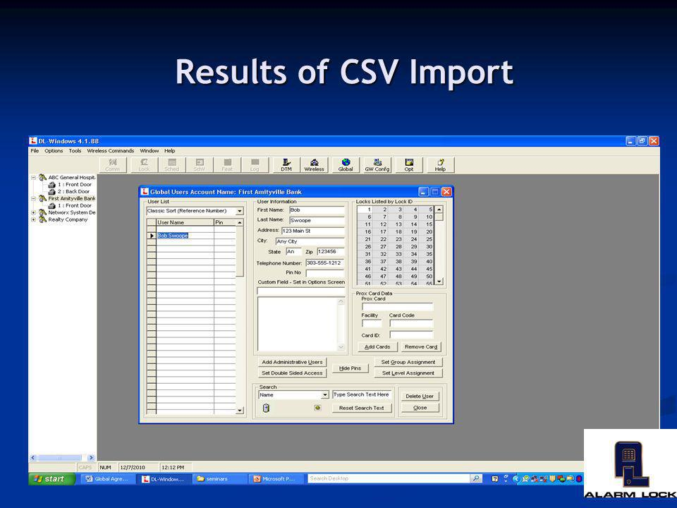 Results of CSV Import