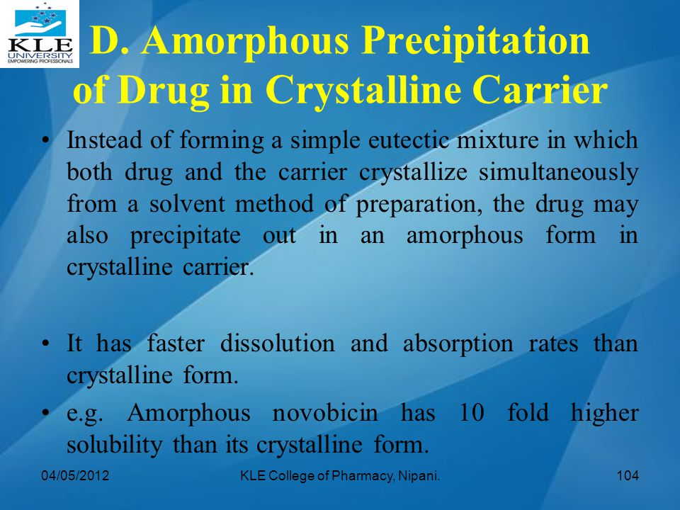 D. Amorphous Precipitation of Drug in Crystalline Carrier