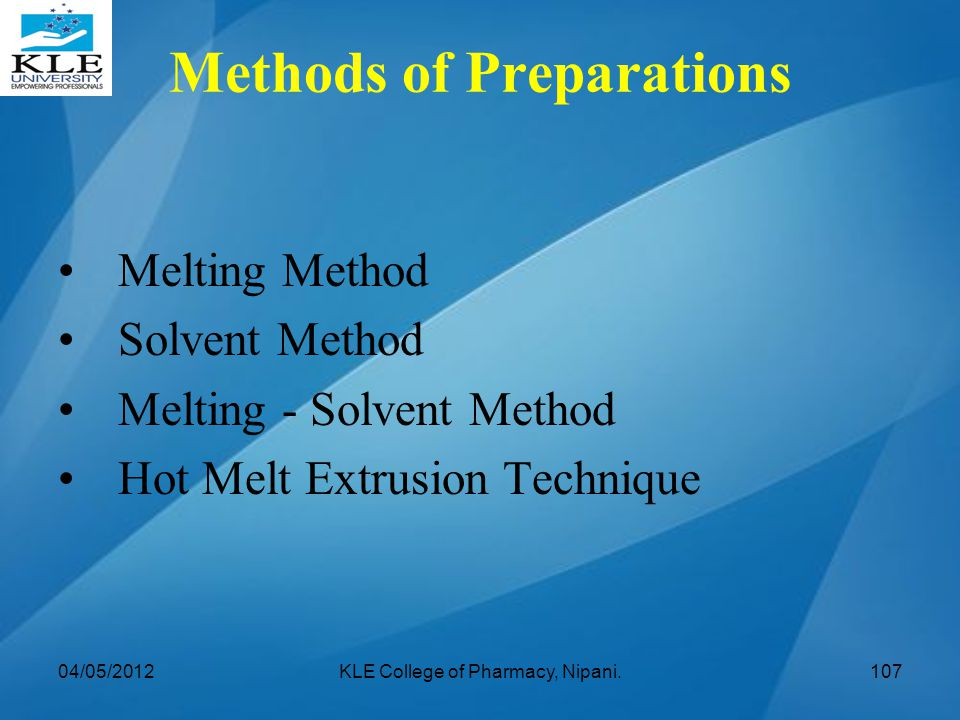 Methods of Preparations