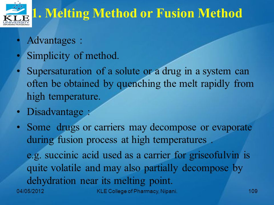 1. Melting Method or Fusion Method