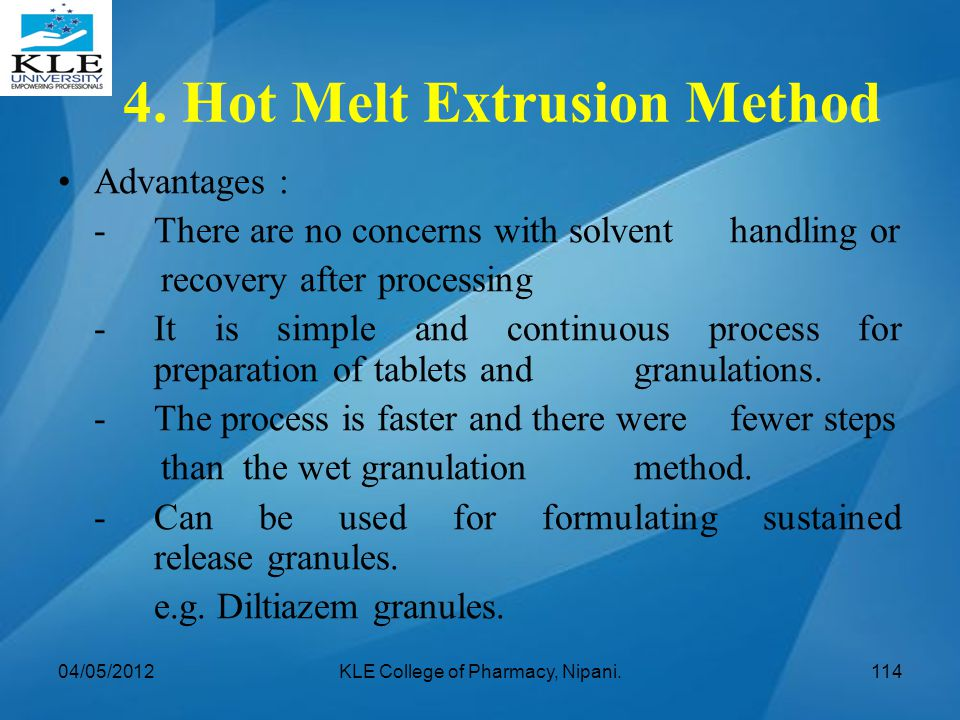 4. Hot Melt Extrusion Method