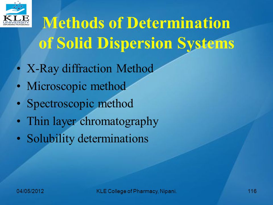 Methods of Determination of Solid Dispersion Systems