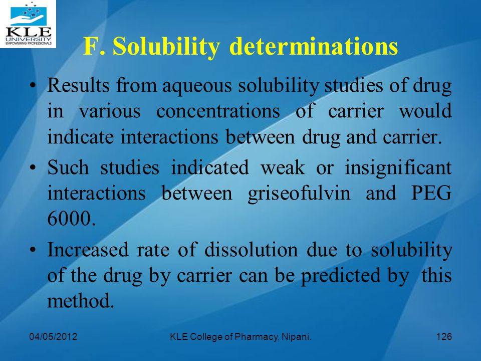F. Solubility determinations