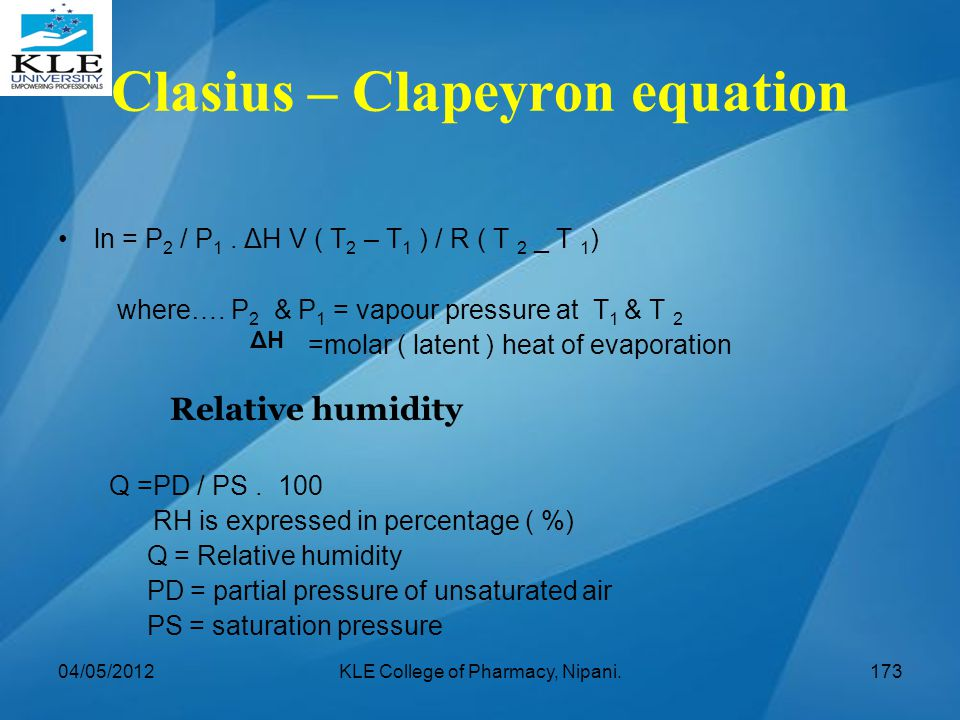 Clasius – Clapeyron equation