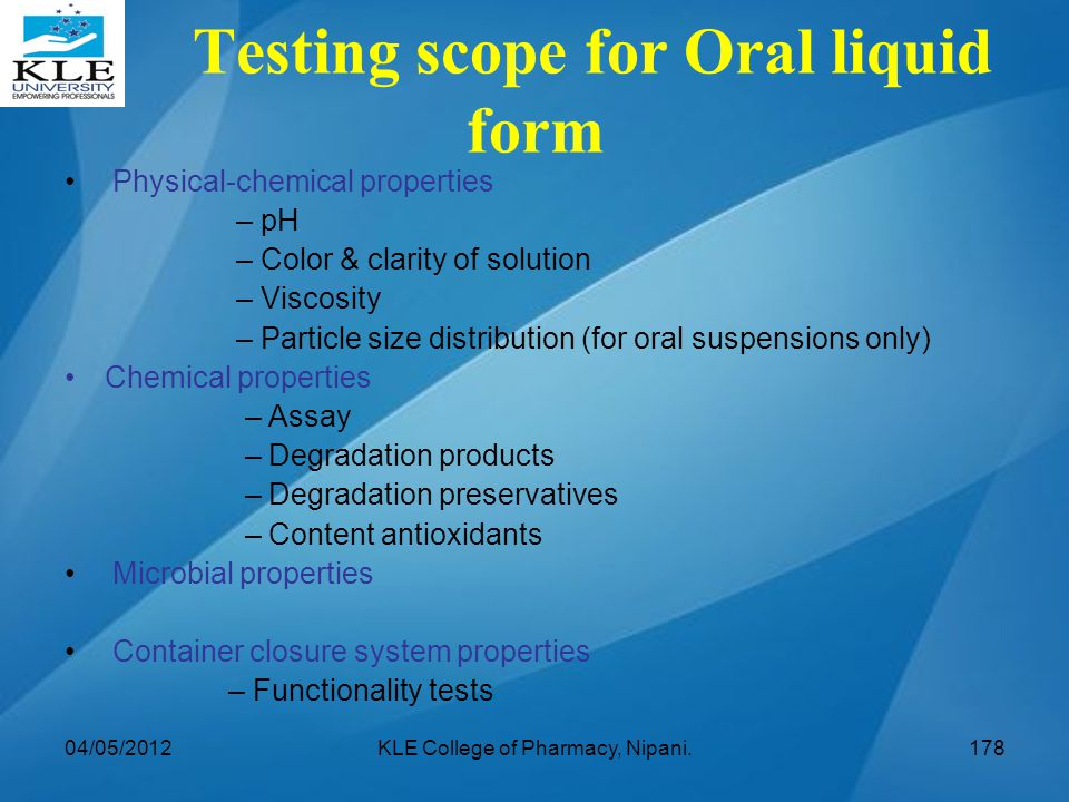 Testing scope for Oral liquid form