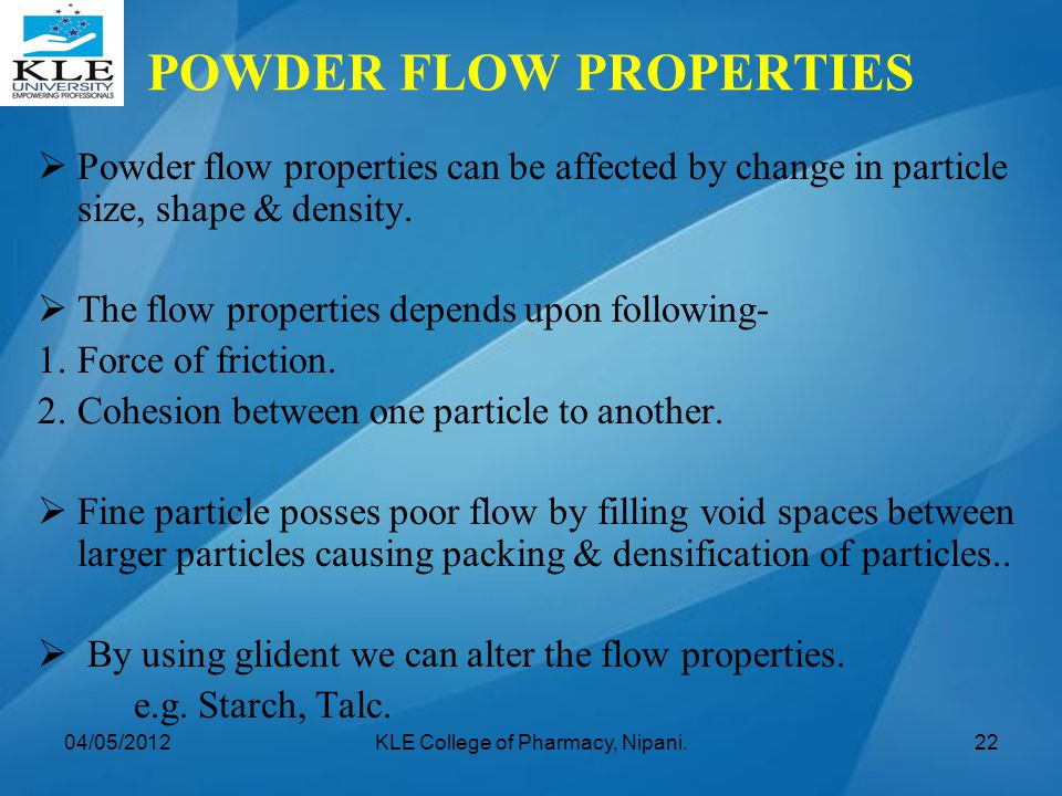 POWDER FLOW PROPERTIES