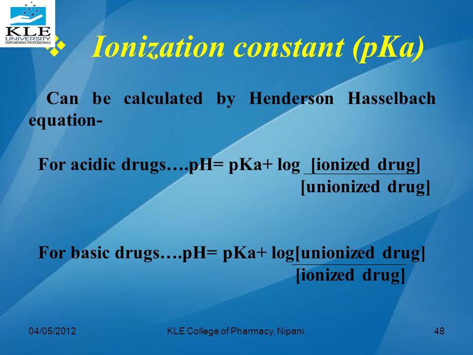 Ionization constant (pKa)