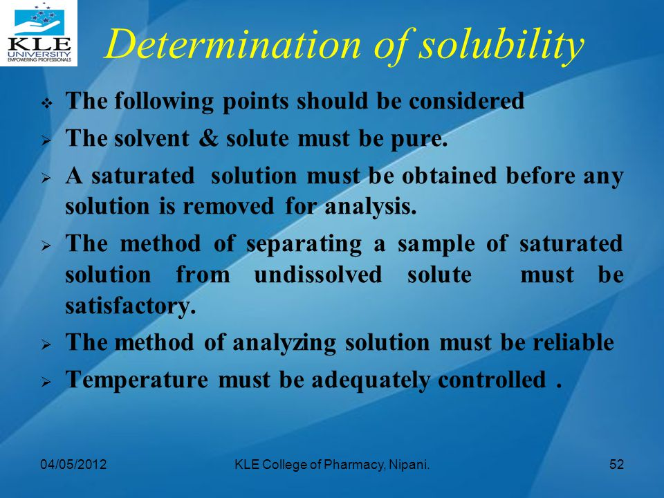 Determination of solubility