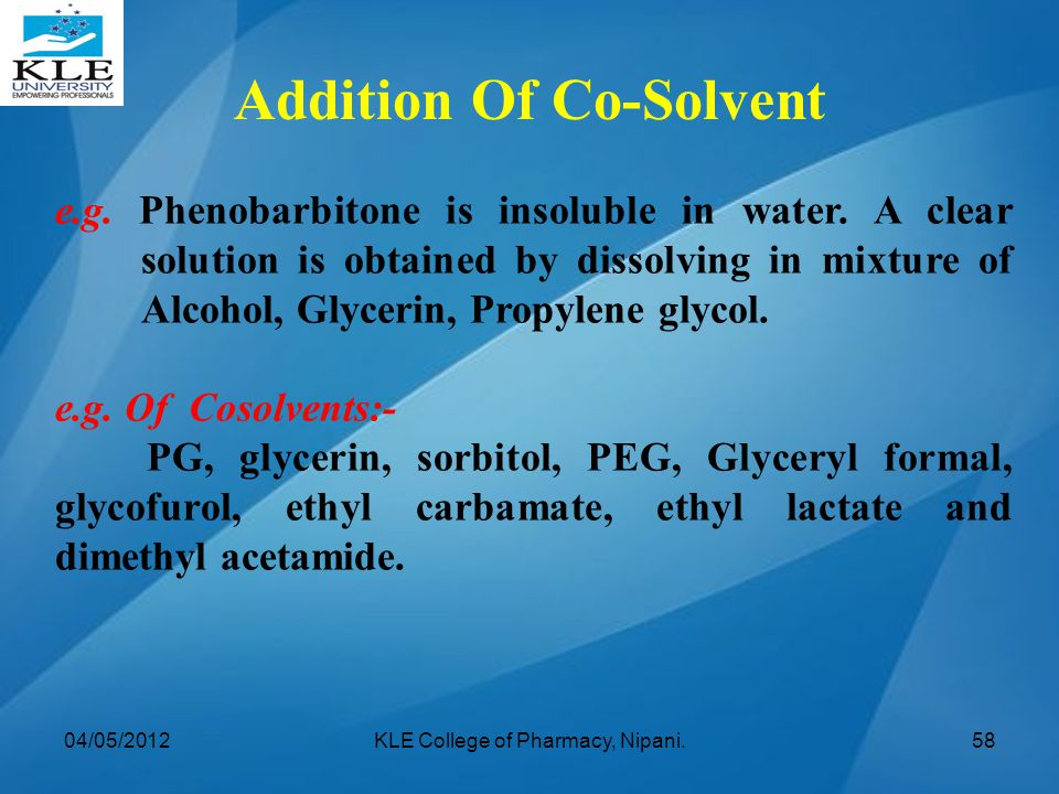 Addition Of Co-Solvent