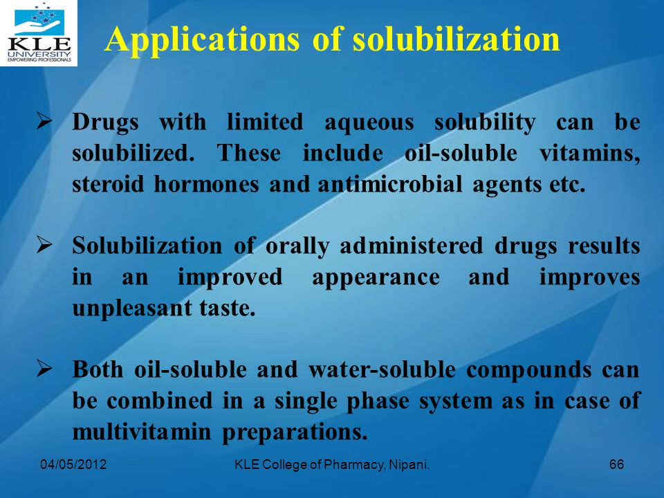Applications of solubilization