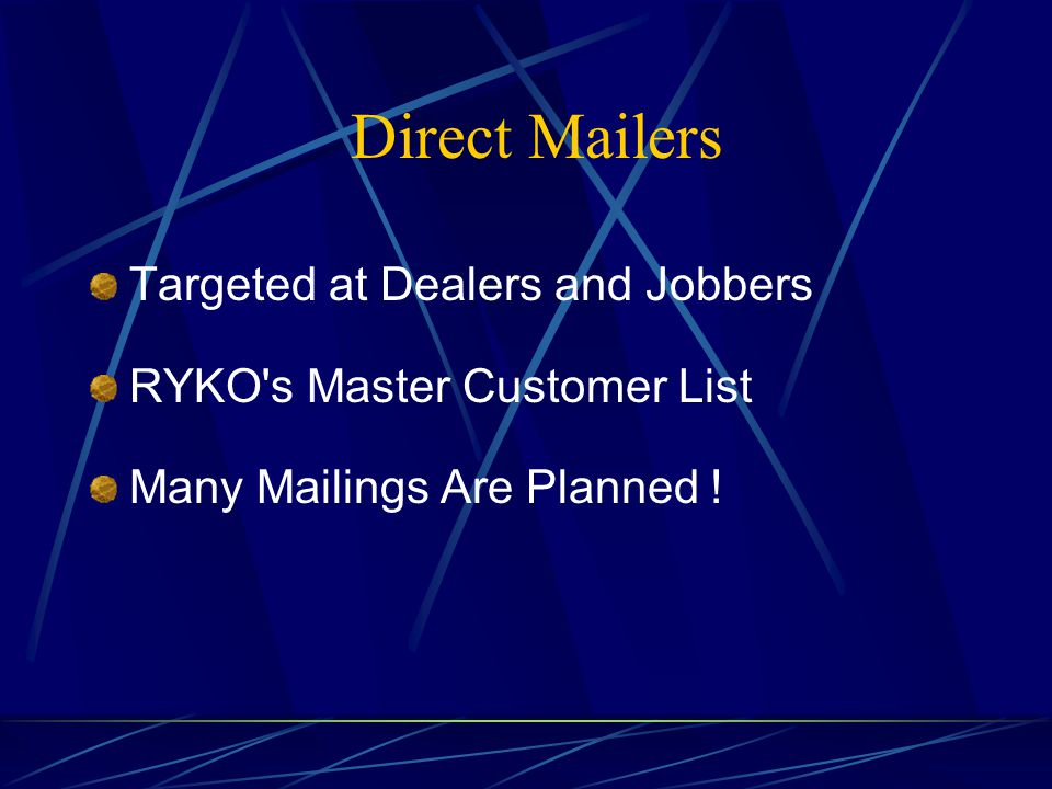 Direct Mailers Targeted at Dealers and Jobbers