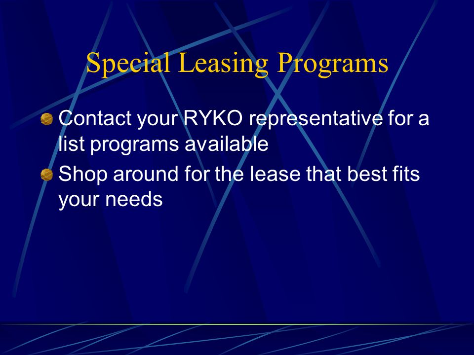 Special Leasing Programs