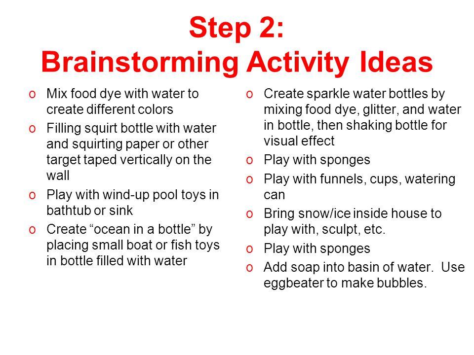 Step 2: Brainstorming Activity Ideas