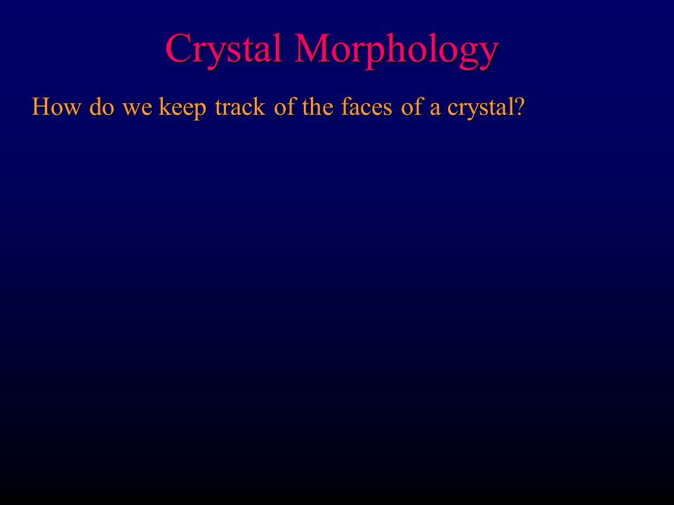 How do we keep track of the faces of a crystal