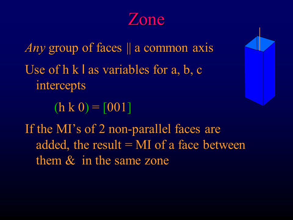 Zone Any group of faces || a common axis