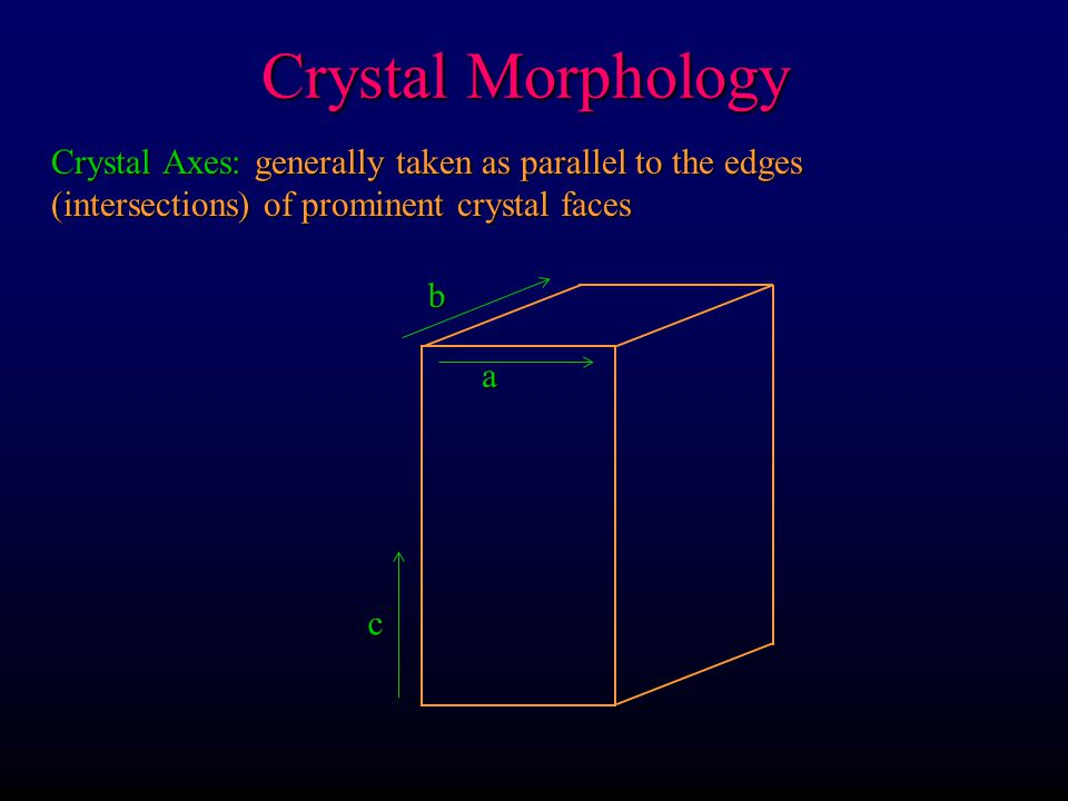 Crystal Morphology Crystal Axes: generally taken as parallel to the edges (intersections) of prominent crystal faces.