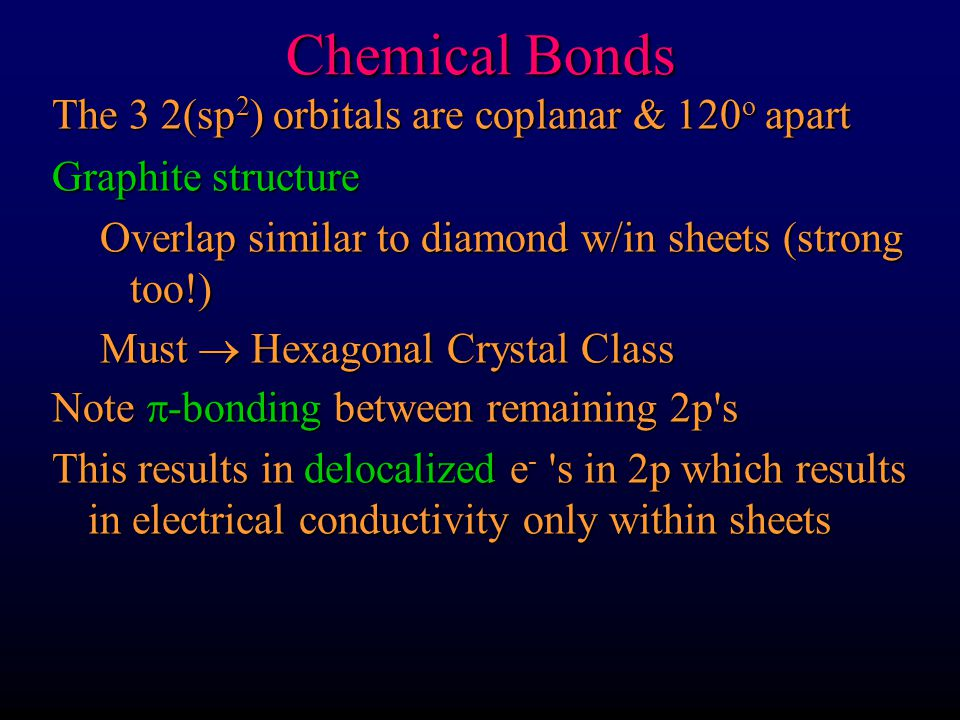 Chemical Bonds The 3 2(sp2) orbitals are coplanar & 120o apart