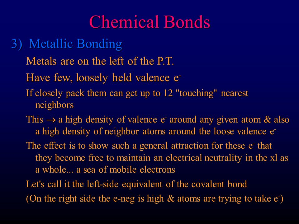 Chemical Bonds 3) Metallic Bonding Metals are on the left of the P.T.