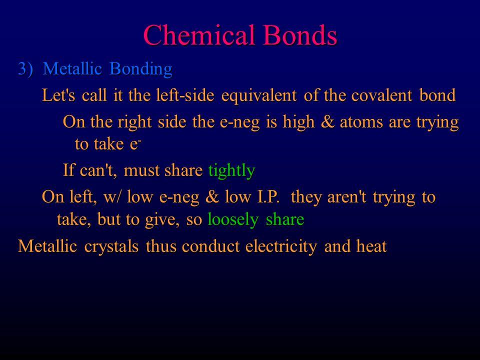 Chemical Bonds 3) Metallic Bonding