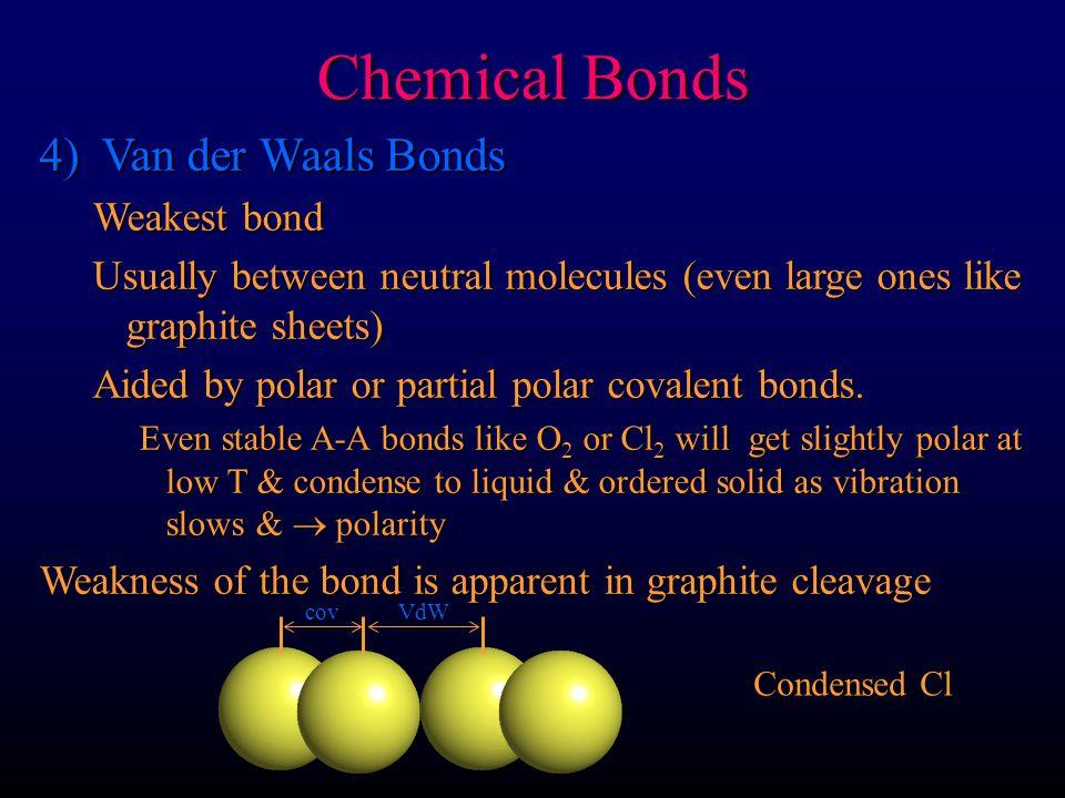 Chemical Bonds 4) Van der Waals Bonds Weakest bond