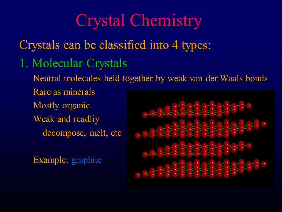 Crystal Chemistry Crystals can be classified into 4 types: