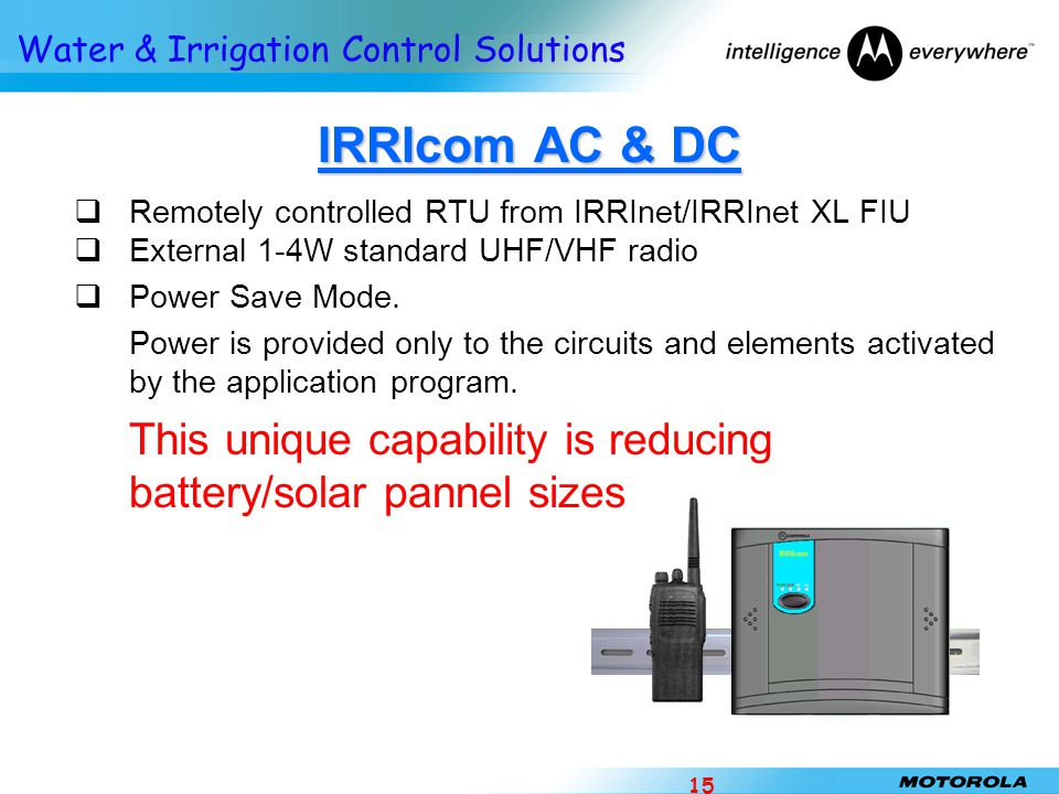 IRRIcom AC & DC Remotely controlled RTU from IRRInet/IRRInet XL FIU