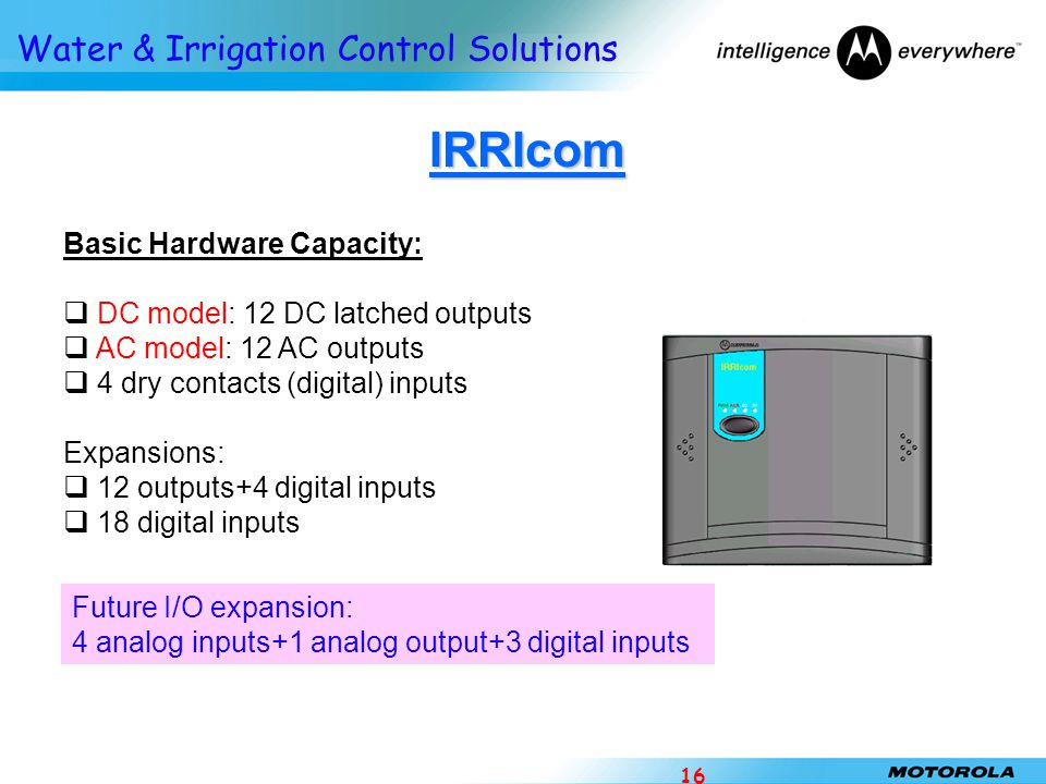 IRRIcom Basic Hardware Capacity: DC model: 12 DC latched outputs