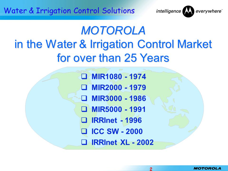 י /ניסן/תשע ז MOTOROLA in the Water & Irrigation Control Market for over than 25 Years. MIR1080 - 1974.
