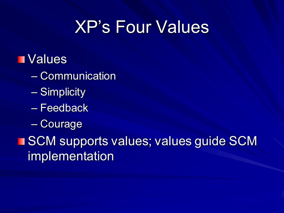 XP's Four Values Values