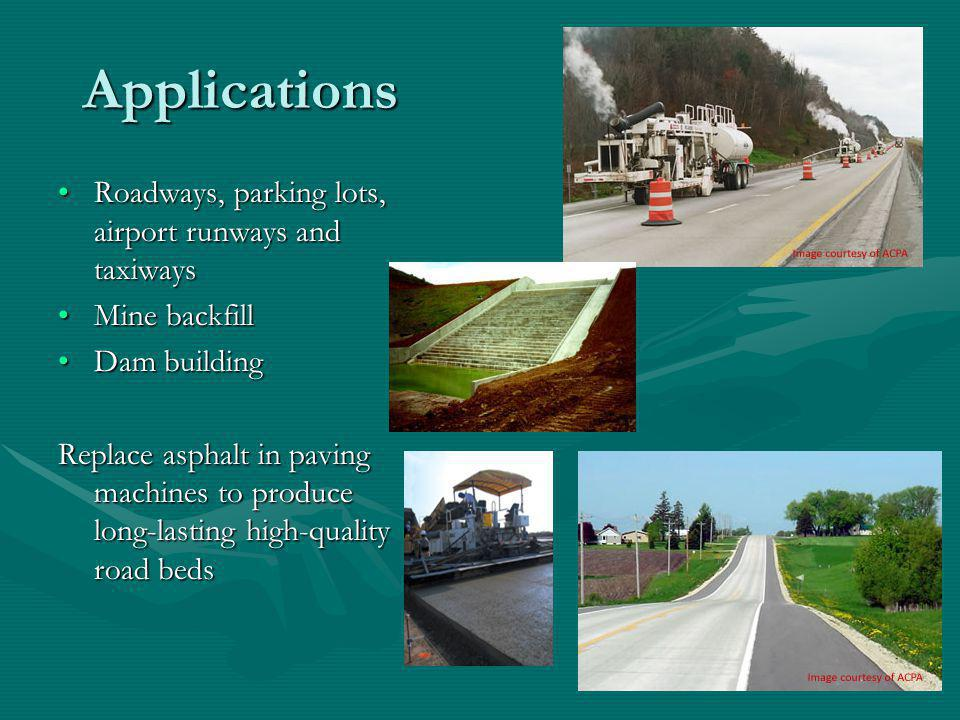Applications Roadways, parking lots, airport runways and taxiways