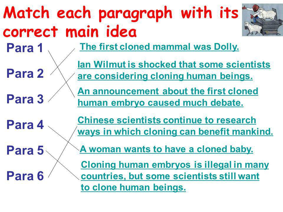 Match each paragraph with its correct main idea