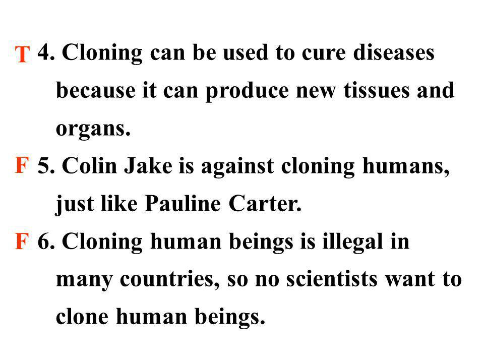 4. Cloning can be used to cure diseases because it can produce new tissues and organs.