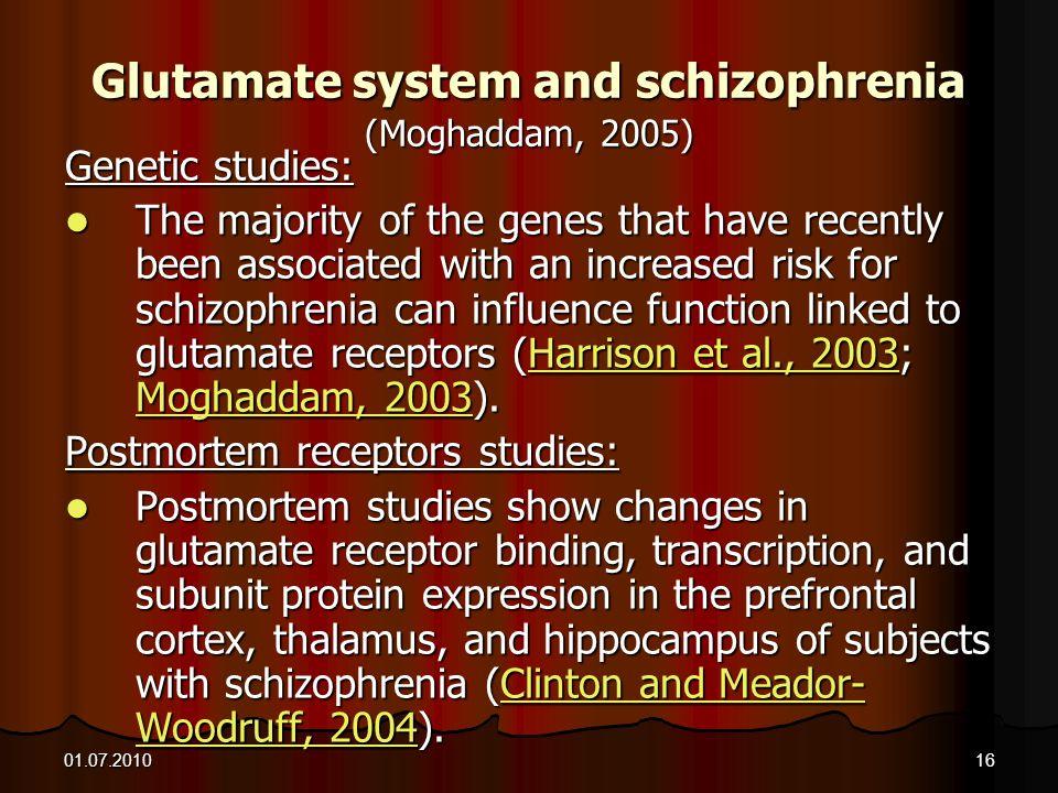 Glutamate system and schizophrenia (Moghaddam, 2005)