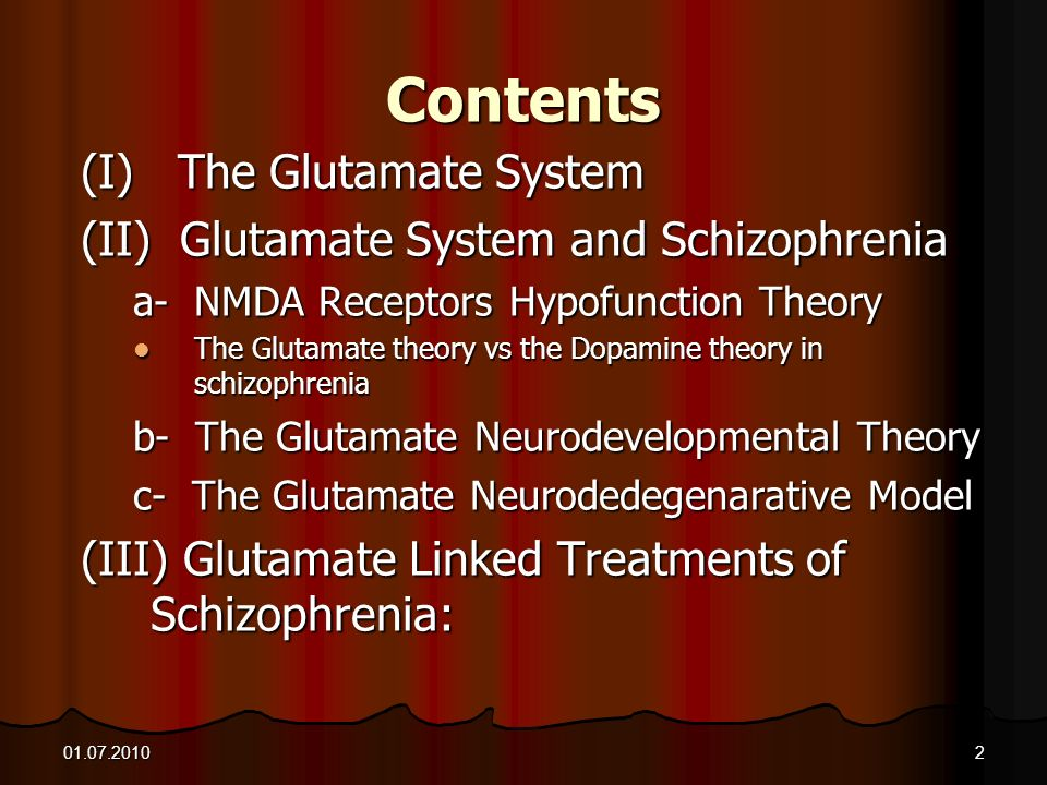 Contents (I) The Glutamate System