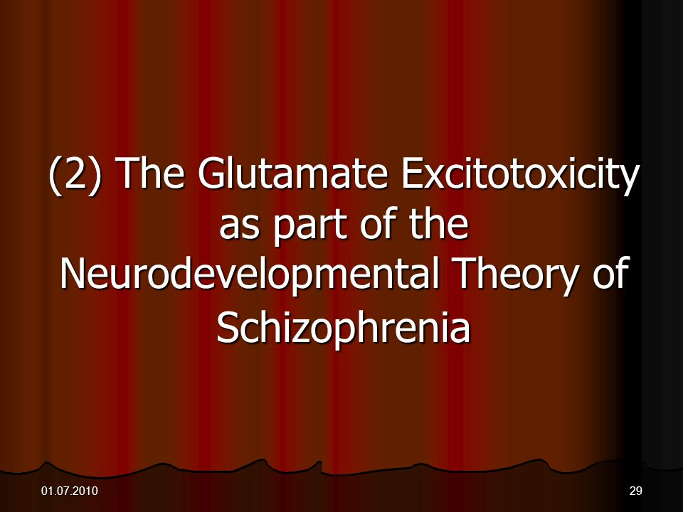 (2) The Glutamate Excitotoxicity as part of the Neurodevelopmental Theory of Schizophrenia