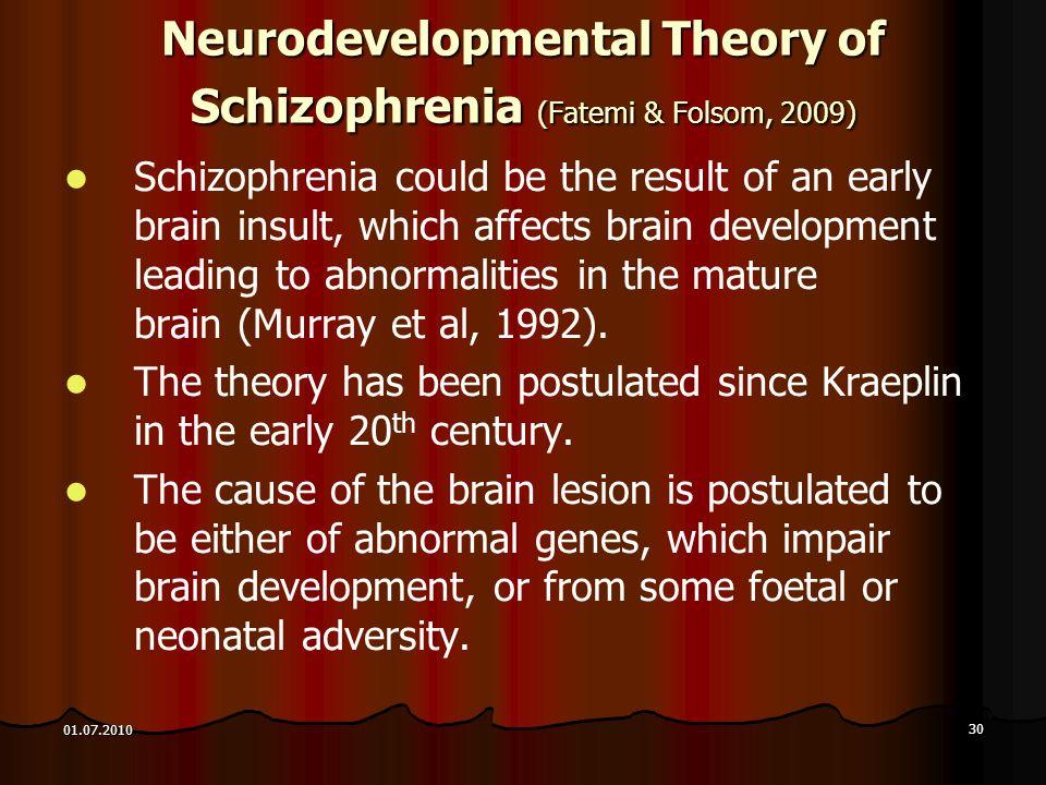Neurodevelopmental Theory of Schizophrenia (Fatemi & Folsom, 2009)