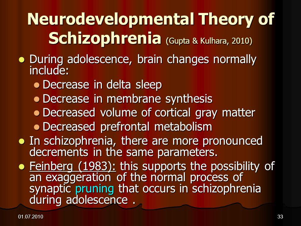 Neurodevelopmental Theory of Schizophrenia (Gupta & Kulhara, 2010)
