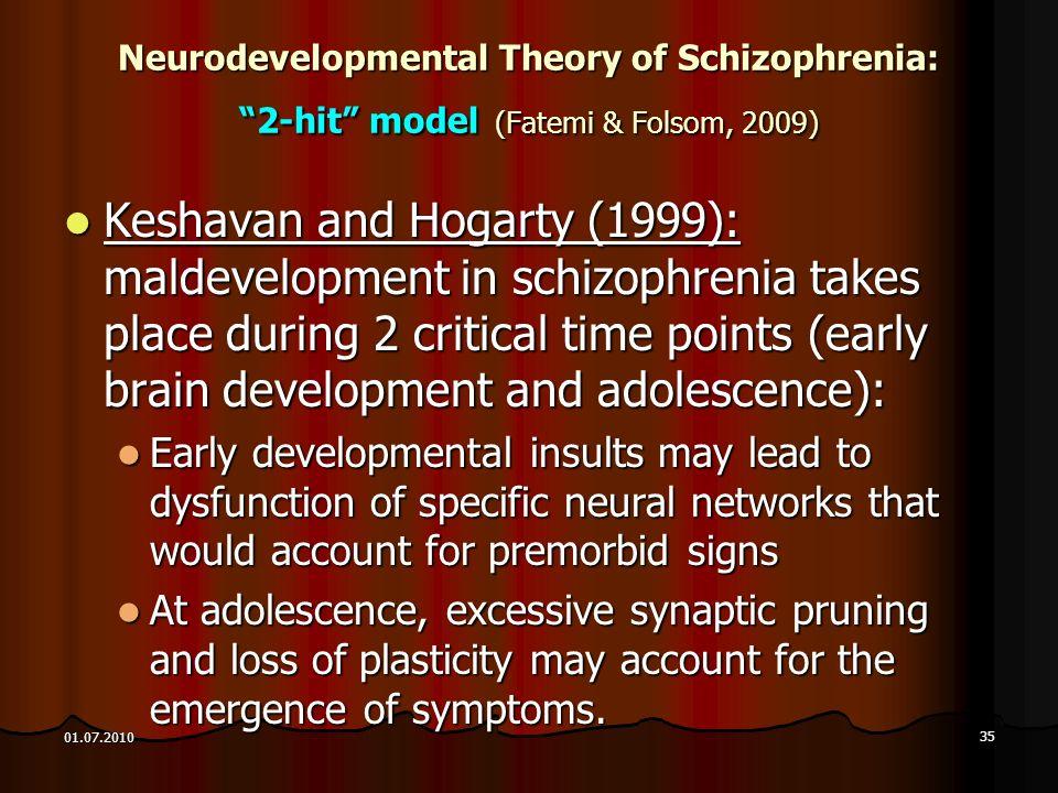 Neurodevelopmental Theory of Schizophrenia: 2-hit model (Fatemi & Folsom, 2009)